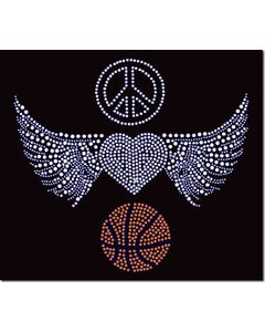 Rhinestone Heat Transfer Design - Peace Love Basketball - 60424