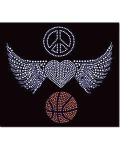 Rhinestone Heat Transfer Design - Peace Love Basketball