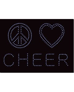 Rhinestone Heat Transfer Design - Peace Love Cheer - 60425
