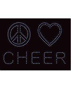 Rhinestone Heat Transfer Design - Peace Love Cheer