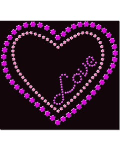 Rhinestone Heat Transfer Design - Flower Heart - 60427