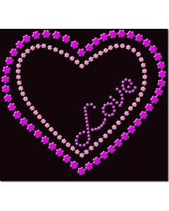Rhinestone Heat Transfer Design - Flower Heart