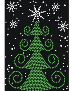 Rhinestone Heat Transfer Design - Christmas Tree - 60430